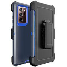 Samsung Galaxy Note 20 Ultra 5G用ハイブリットバンパーケース プラスチック 兼シリコーン カバー N04 サムスン ネイビー・ブラック
