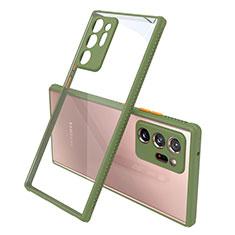 Samsung Galaxy Note 20 Ultra 5G用ハイブリットバンパーケース クリア透明 プラスチック 鏡面 カバー N02 サムスン オリーブグリーン