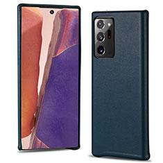 Samsung Galaxy Note 20 Ultra 5G用ケース 高級感 手触り良いレザー柄 N02 サムスン シアン