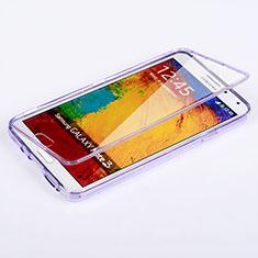 Samsung Galaxy Note 3 N9000用ソフトケース フルカバー クリア透明 サムスン パープル