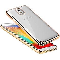 Samsung Galaxy Note 3 N9000用極薄ソフトケース シリコンケース 耐衝撃 全面保護 クリア透明 H01 サムスン ゴールド