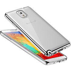 Samsung Galaxy Note 3 N9000用極薄ソフトケース シリコンケース 耐衝撃 全面保護 クリア透明 H01 サムスン シルバー