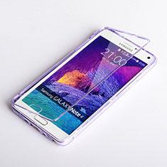 Samsung Galaxy Note 4 Duos N9100 Dual SIM用ソフトケース フルカバー クリア透明 サムスン パープル