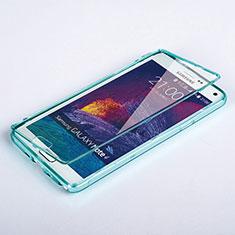 Samsung Galaxy Note 4 Duos N9100 Dual SIM用ソフトケース フルカバー クリア透明 サムスン ブルー