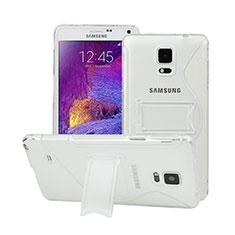 Samsung Galaxy Note 4 Duos N9100 Dual SIM用ソフトケース S ライン クリア透明 スタンド サムスン ホワイト