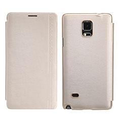 Samsung Galaxy Note 4 Duos N9100 Dual SIM用手帳型 レザーケース スタンド サムスン ゴールド