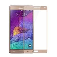 Samsung Galaxy Note 4 Duos N9100 Dual SIM用強化ガラス フル液晶保護フィルム サムスン ゴールド