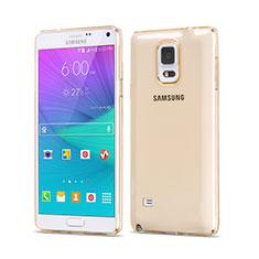 Samsung Galaxy Note 4 SM-N910F用極薄ソフトケース シリコンケース 耐衝撃 全面保護 クリア透明 サムスン ゴールド