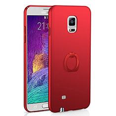 Samsung Galaxy Note 4 SM-N910F用ハードケース プラスチック 質感もマット アンド指輪 A01 サムスン レッド