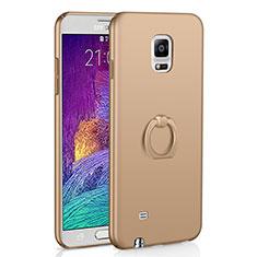 Samsung Galaxy Note 4 SM-N910F用ハードケース プラスチック 質感もマット アンド指輪 A01 サムスン ゴールド