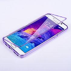 Samsung Galaxy Note 5 N9200 N920 N920F用ソフトケース フルカバー クリア透明 サムスン パープル