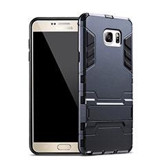 Samsung Galaxy Note 5 N9200 N920 N920F用ハイブリットバンパーケース スタンド プラスチック 兼シリコーン サムスン ネイビー