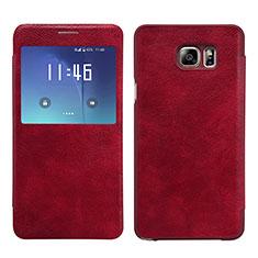 Samsung Galaxy Note 5 N9200 N920 N920F用手帳型 レザーケース スタンド L01 サムスン レッド