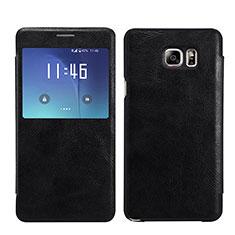 Samsung Galaxy Note 5 N9200 N920 N920F用手帳型 レザーケース スタンド L01 サムスン ブラック