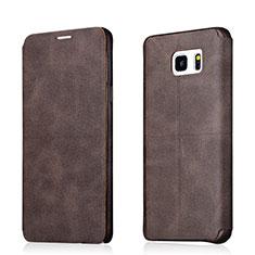 Samsung Galaxy Note 5 N9200 N920 N920F用手帳型 レザーケース スタンド L03 サムスン ブラウン