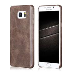 Samsung Galaxy Note 5 N9200 N920 N920F用ケース 高級感 手触り良いレザー柄 サムスン ブラウン