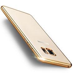 Samsung Galaxy Note 7用ハイブリットバンパーケース クリア透明 プラスチック サムスン ゴールド