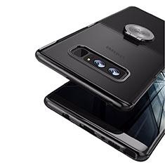 Samsung Galaxy Note 8用極薄ソフトケース シリコンケース 耐衝撃 全面保護 アンド指輪 マグネット式 サムスン ブラック