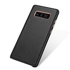 Samsung Galaxy Note 8用ケース 高級感 手触り良いレザー柄 W01 サムスン ブラック