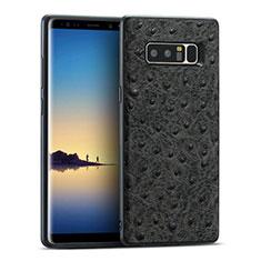 Samsung Galaxy Note 8用シリコンケース ソフトタッチラバー レザー柄 R02 サムスン ブラック
