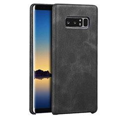 Samsung Galaxy Note 8用ケース 高級感 手触り良いレザー柄 サムスン ブラック