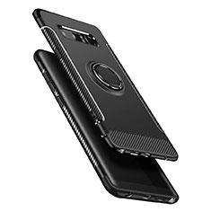 Samsung Galaxy Note 8用ハイブリットバンパーケース プラスチック アンド指輪 兼シリコーン A01 サムスン ブラック