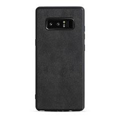 Samsung Galaxy Note 8用シリコンケース ソフトタッチラバー レザー柄 Q01 サムスン ブラック