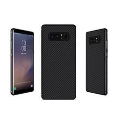 Samsung Galaxy Note 8用シリコンケース ソフトタッチラバー ツイル B02 サムスン ブラック