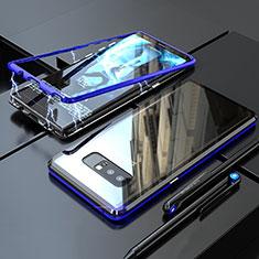Samsung Galaxy Note 8用ケース 高級感 手触り良い アルミメタル 製の金属製 360度 フルカバーバンパー 鏡面 カバー サムスン ネイビー
