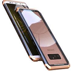 Samsung Galaxy Note 8用ケース 高級感 手触り良い アルミメタル 製の金属製 360度 フルカバーバンパー 鏡面 カバー M01 サムスン ゴールド