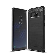 Samsung Galaxy Note 8用シリコンケース ソフトタッチラバー ライン カバー サムスン ブラック