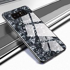 Samsung Galaxy Note 8用ハイブリットバンパーケース プラスチック 鏡面 カバー M04 サムスン ブラック