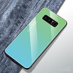 Samsung Galaxy Note 8用ハイブリットバンパーケース プラスチック 鏡面 虹 グラデーション 勾配色 カバー M01 サムスン シアン
