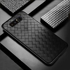 Samsung Galaxy Note 8用シリコンケース ソフトタッチラバー レザー柄 サムスン ブラック