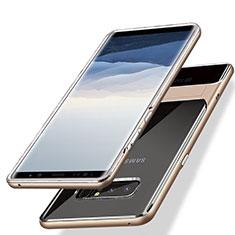 Samsung Galaxy Note 8 Duos N950F用ハイブリットバンパーケース スタンド プラスチック 兼シリコーン サムスン ゴールド