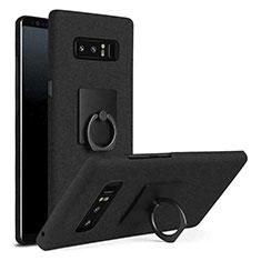 Samsung Galaxy Note 8 Duos N950F用ハードケース プラスチック 質感もマット アンド指輪 A01 サムスン ブラック