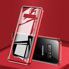 Samsung Galaxy Note 8 Duos N950F用ケース 高級感 手触り良い アルミメタル 製の金属製 360度 フルカバーバンパー 鏡面 カバー M03 サムスン レッド