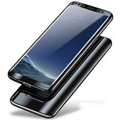 Samsung Galaxy Note 8 Duos N950F用ハードケース プラスチック 質感もマット 前面と背面 360度 フルカバー A01 サムスン ブラック