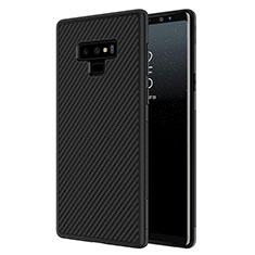 Samsung Galaxy Note 9用シリコンケース ソフトタッチラバー ツイル サムスン ブラック