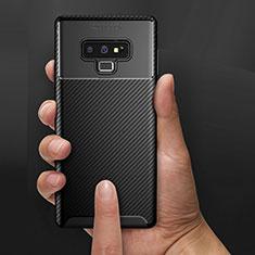 Samsung Galaxy Note 9用シリコンケース ソフトタッチラバー ツイル B02 サムスン ブラック