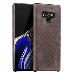 Samsung Galaxy Note 9用ケース 高級感 手触り良いレザー柄 L01 サムスン ブラウン