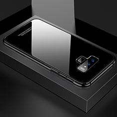 Samsung Galaxy Note 9用ケース 高級感 手触り良い アルミメタル 製の金属製 360度 フルカバーバンパー 鏡面 カバー サムスン ブラック
