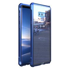 Samsung Galaxy Note 9用ケース 高級感 手触り良い アルミメタル 製の金属製 360度 フルカバーバンパー 鏡面 カバー M01 サムスン ネイビー