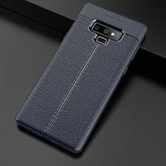 Samsung Galaxy Note 9用シリコンケース ソフトタッチラバー レザー柄 サムスン ネイビー