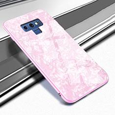 Samsung Galaxy Note 9用ハイブリットバンパーケース プラスチック 鏡面 カバー T01 サムスン ピンク