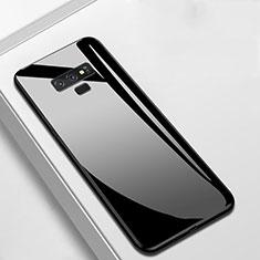 Samsung Galaxy Note 9用ハイブリットバンパーケース プラスチック 鏡面 カバー T02 サムスン ブラック