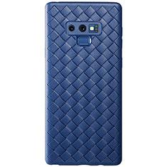 Samsung Galaxy Note 9用シリコンケース ソフトタッチラバー レザー柄 L01 サムスン ネイビー