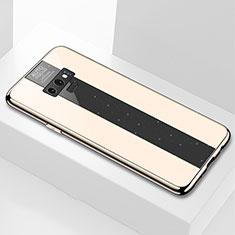 Samsung Galaxy Note 9用ハイブリットバンパーケース プラスチック 鏡面 カバー T03 サムスン ゴールド