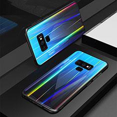 Samsung Galaxy Note 9用ハイブリットバンパーケース プラスチック 鏡面 虹 グラデーション 勾配色 カバー M01 サムスン ネイビー