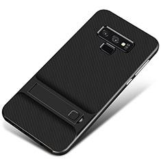 Samsung Galaxy Note 9用ハイブリットバンパーケース スタンド プラスチック 兼シリコーン カバー サムスン ブラック